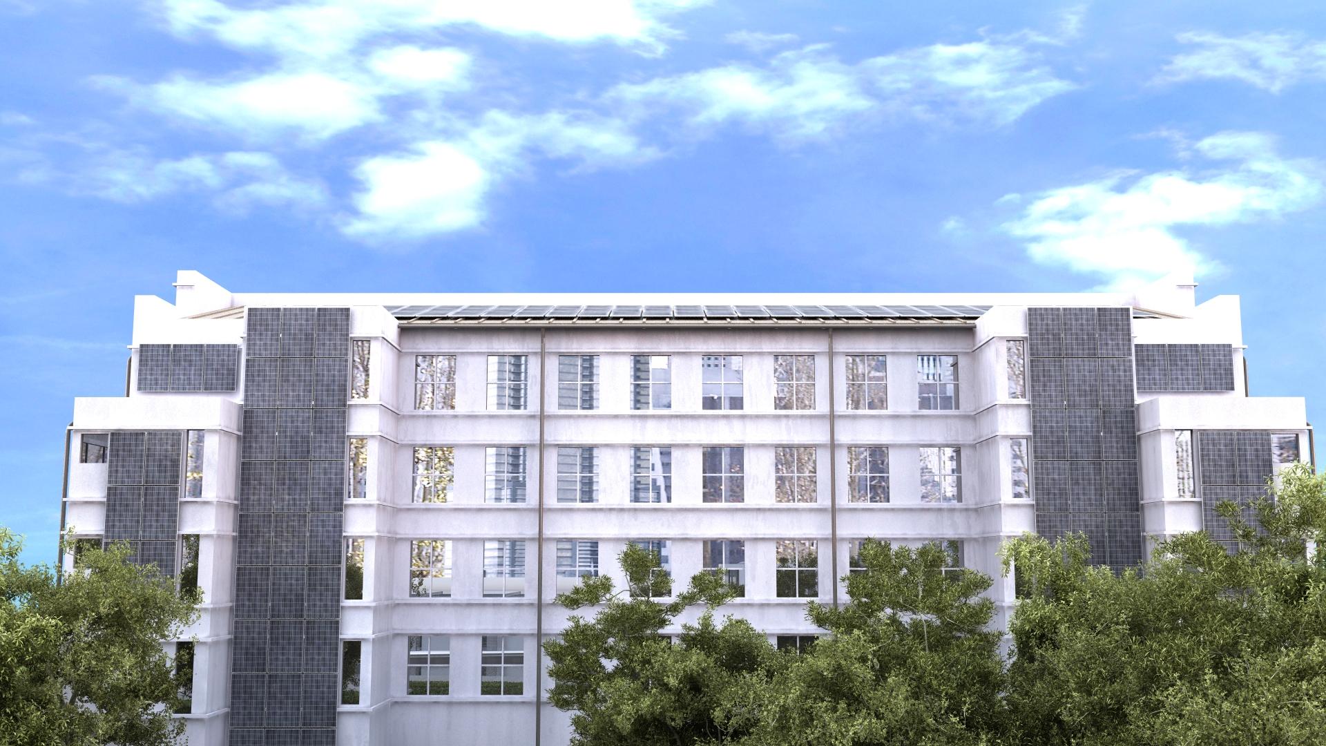 Монохромные поликристаллические панели на офисном здании (иллюстрации для буклета)