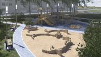 Дворовая территория с детской площадкой [3-d визуализация] + видео