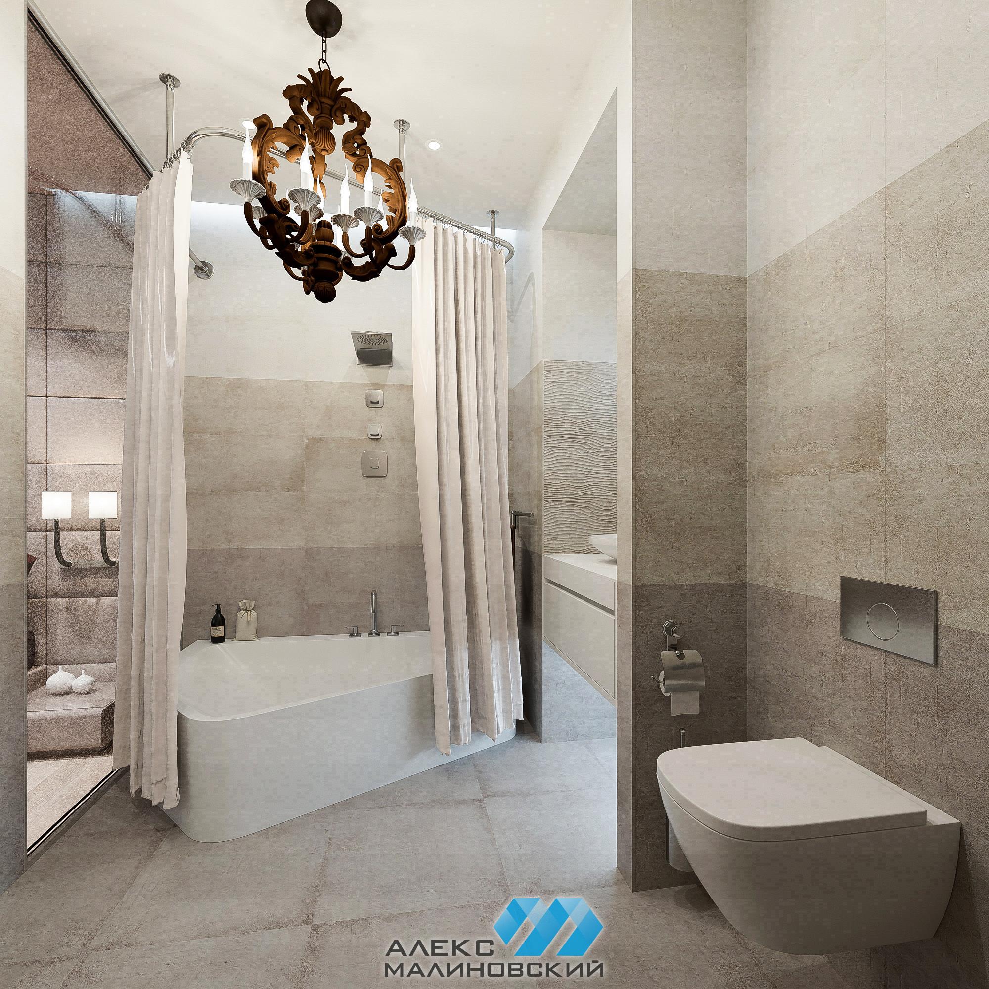 Ванная, 2х комнатная квартира, ЖК Водный, Москва