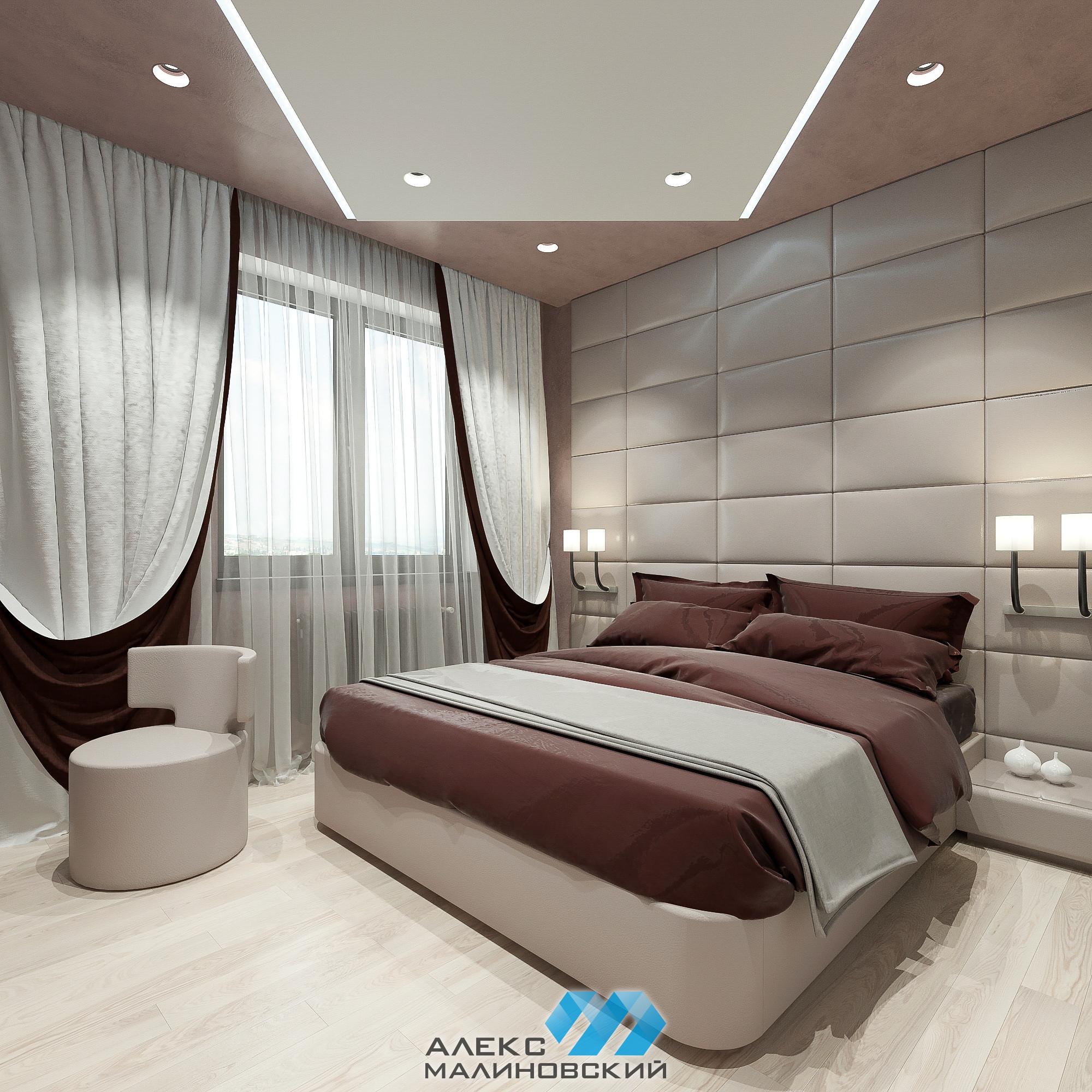 Спальня, 2х комнатная квартира, ЖК Водный, Москва
