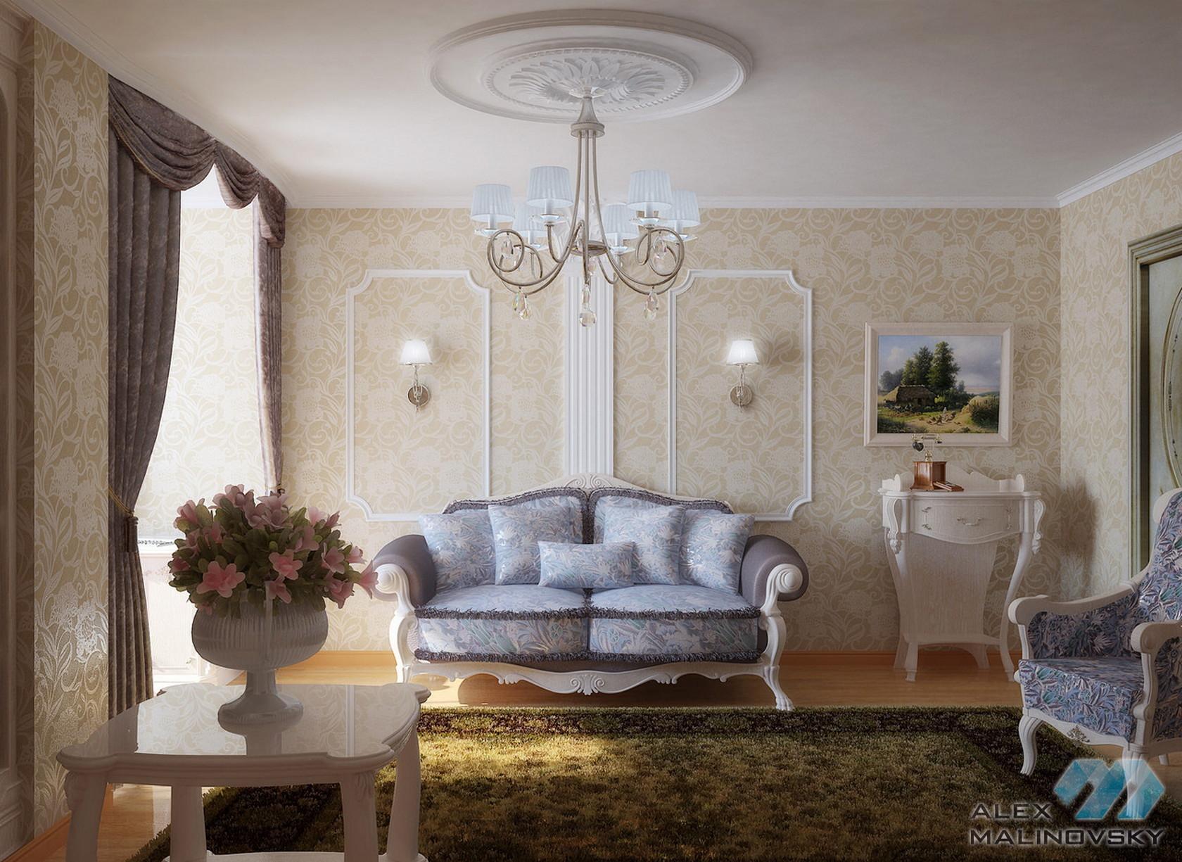 Гостиная, 3х комнатная квартира, ЖК Князь Владимир, Белгород