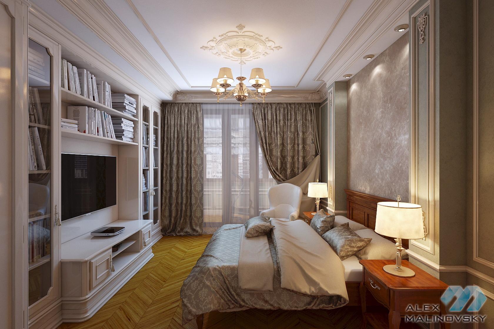 Спальня 1, 3х комнатная квартира, Старый Арбат, Москва