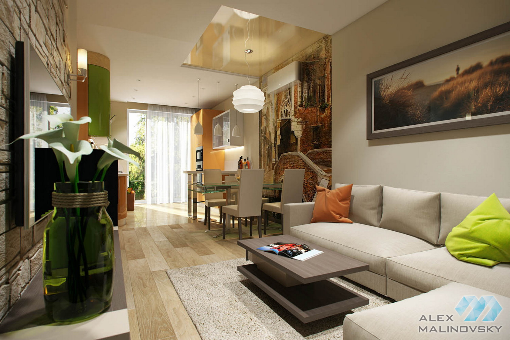 Гостиная, 4х комнатная квартира в Одинцово