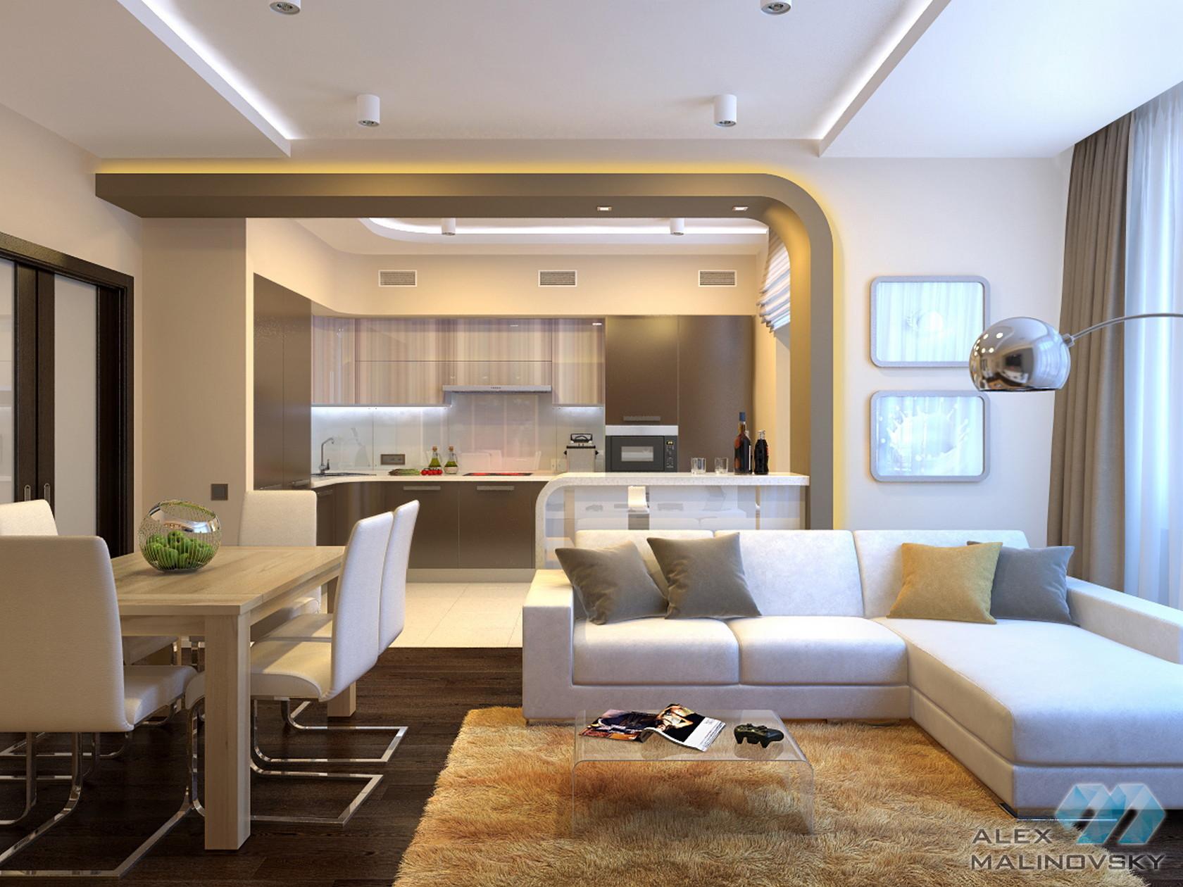 Кухня-гостиная, 3х комнатная квартира, ЖК Озерки, СПб