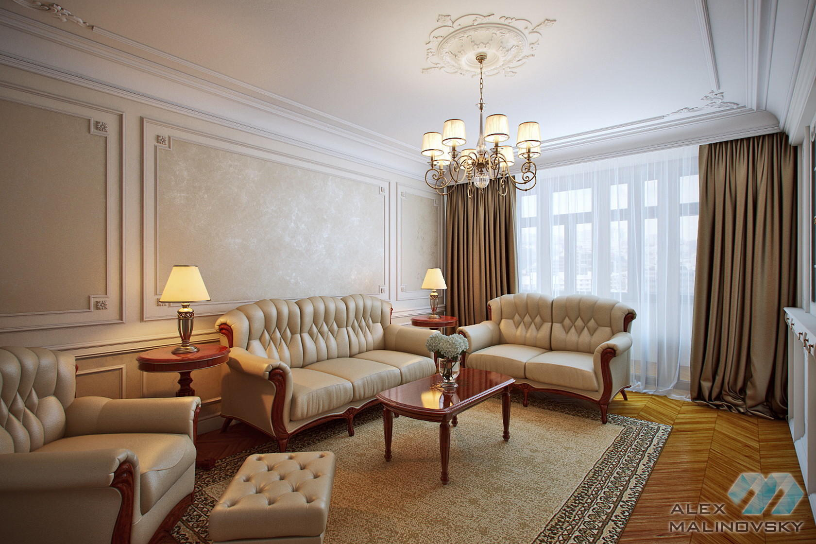Гостиная, 3х комнатная квартира, Старый Арбат, Москва