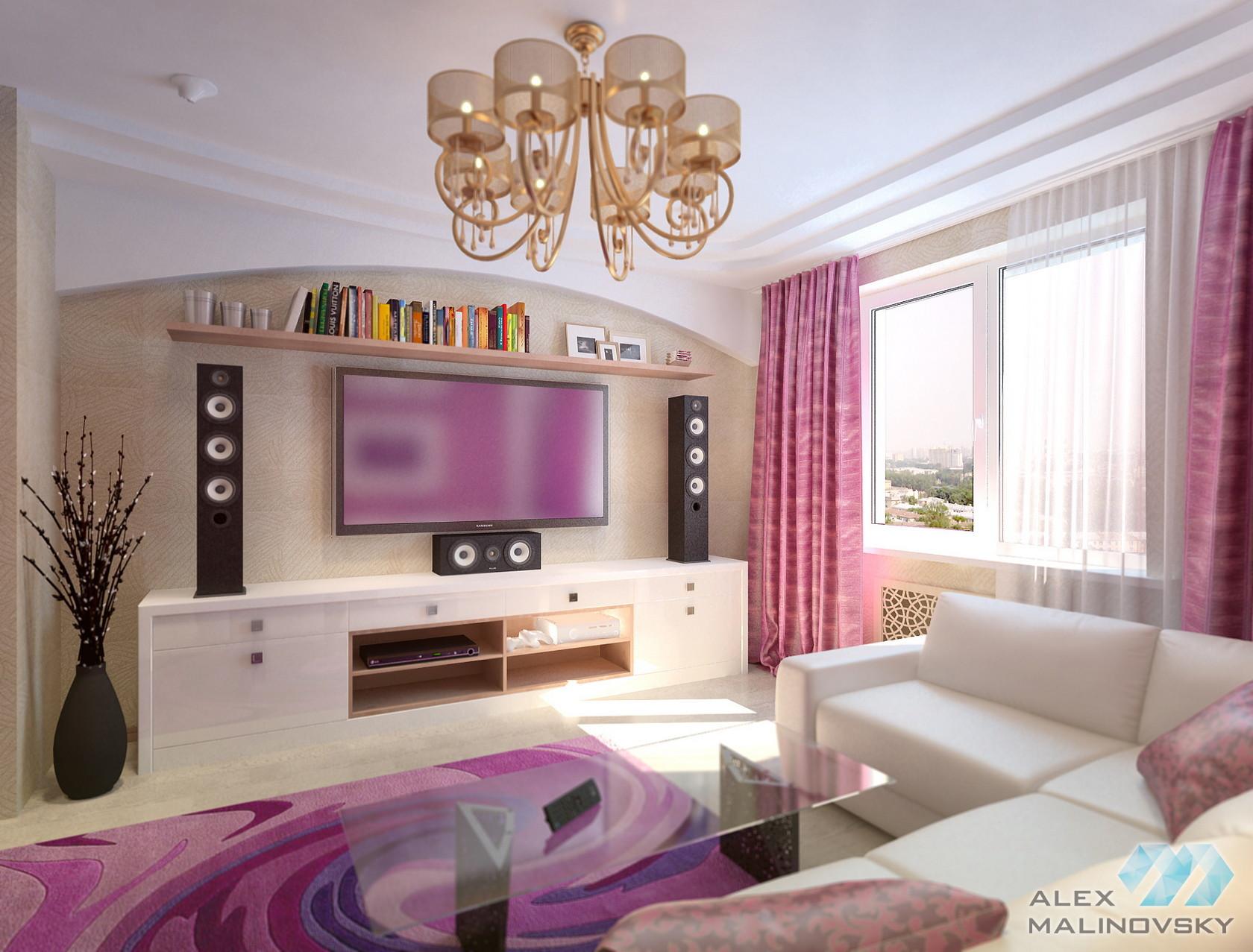 Гостиная, 3х комнатная квартира, ЖК Северный, СПб