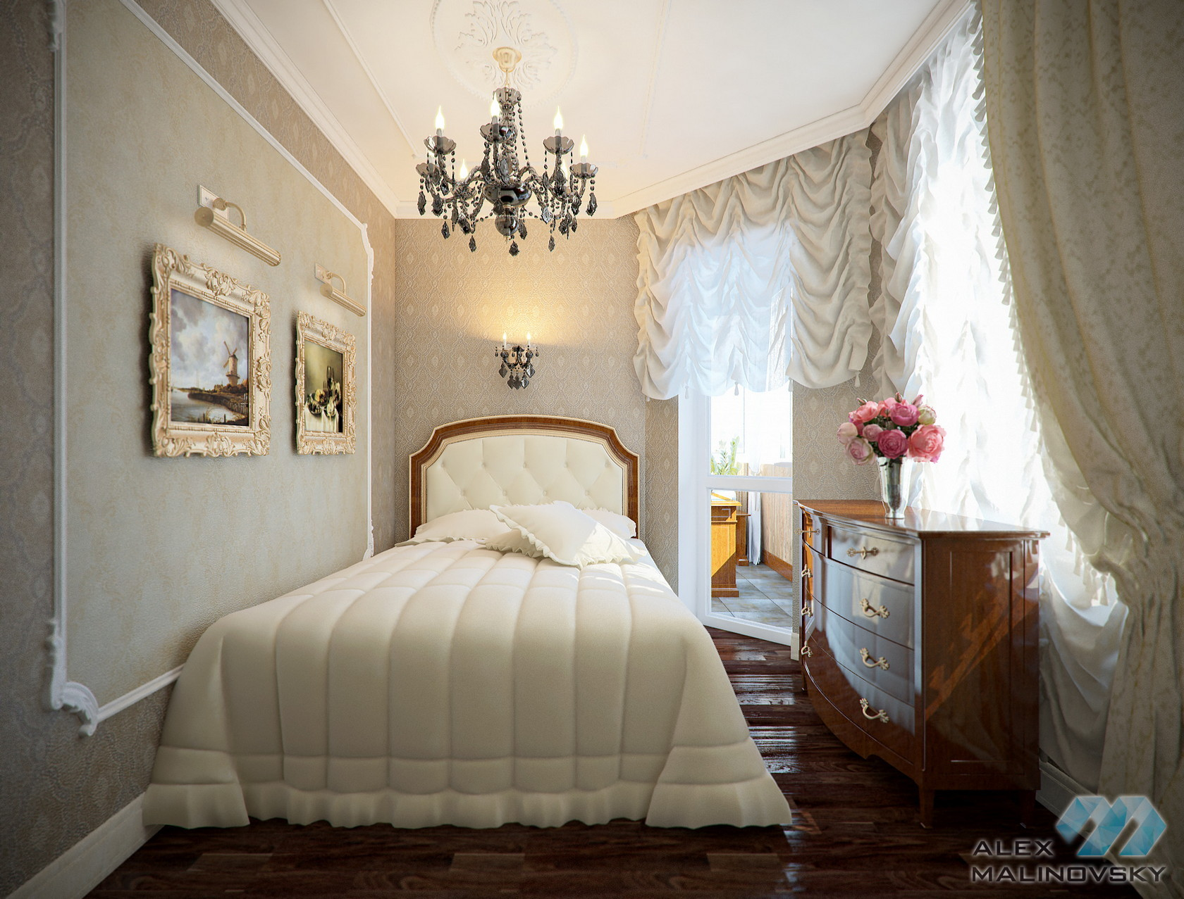 Спальня, 3х комнатная квартира, ЖК Доминанта, СПб