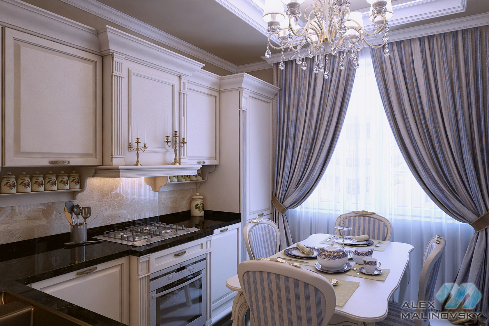 Кухня, 3х комнатная квартира, ЖК На Беговой, Москва