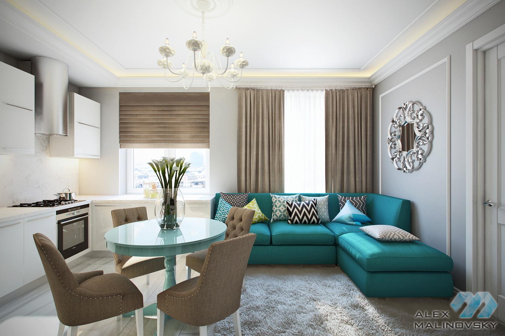 Кухня-гостиная, 3 комнатная квартира в Красногорске
