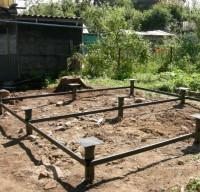 Строительство винтового фундамента для бани