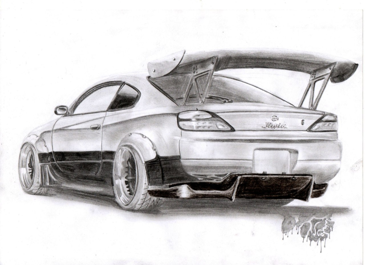 Nissan Silvia. Рисунок от руки.