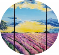 Сиреневое поле (триптих). Холст, масло.