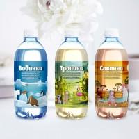 Дизайн бутылок воды для московского Зоопарка с псевдо-3D эффектом