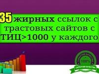 35 вечных ссылок с сайтов с ТИЦ >1000 у каждого. Средний ТИЦ – 9230,...