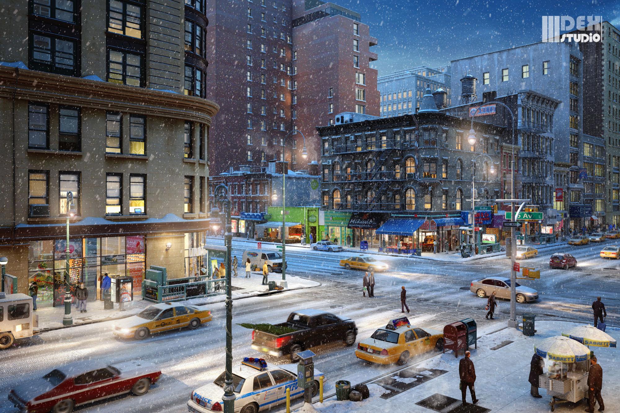 egor-goray-winterNight-NY-Intersection