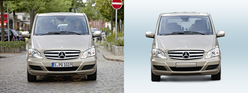 Вырезание автомобиля с заменой фона