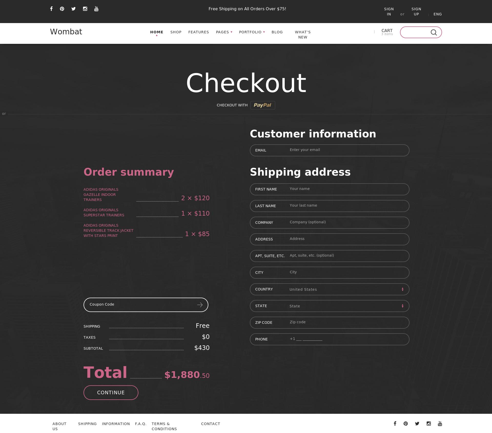 Wombat - Адаптивная верстка шаблона интернет магазина для продаже на Themeforest