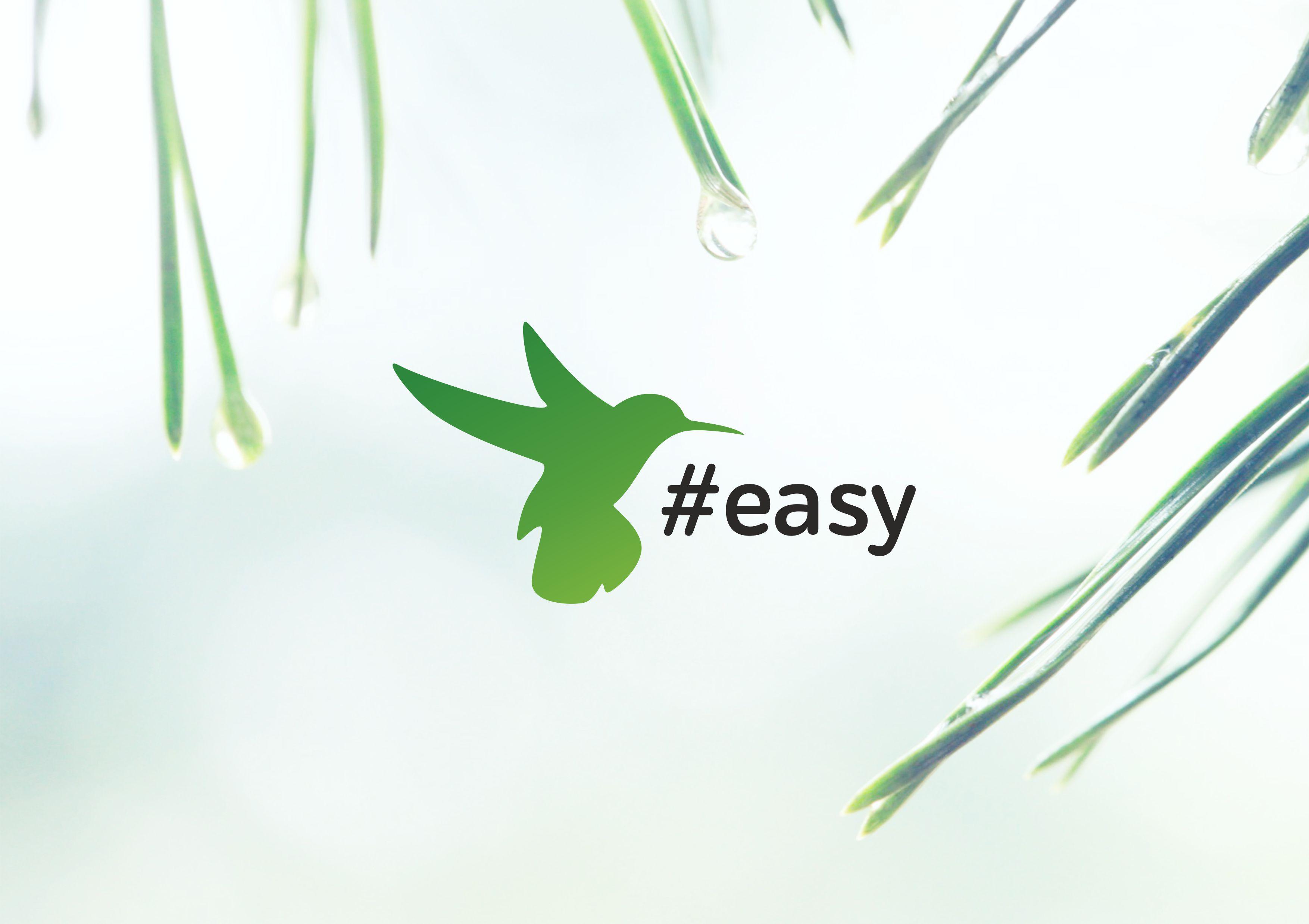 Разработка логотипа в виде хэштега #easy с зеленой колибри  фото f_0675d4dfd5459b6d.jpg