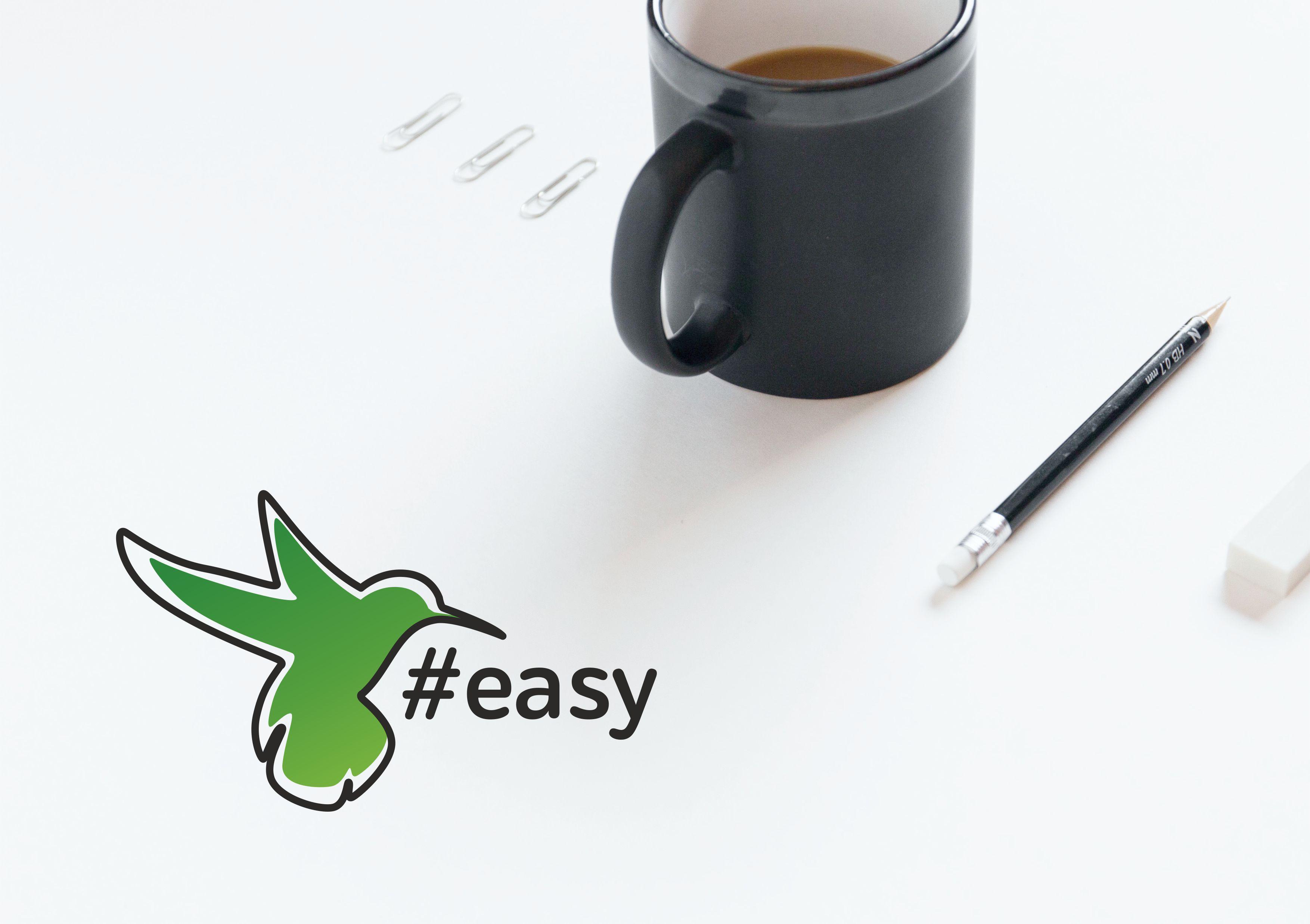 Разработка логотипа в виде хэштега #easy с зеленой колибри  фото f_5795d4dfd578e71b.jpg