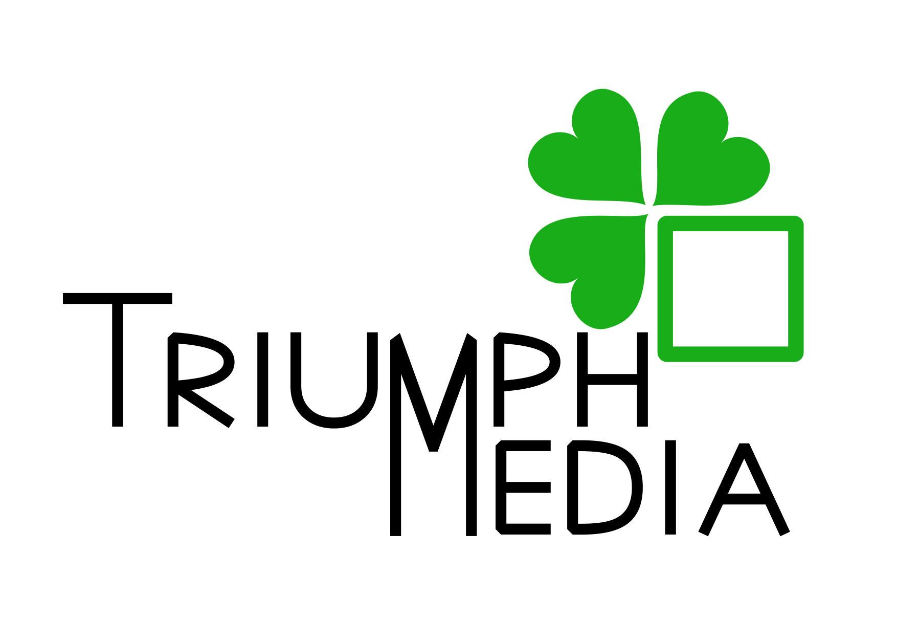 Разработка логотипа  TRIUMPH MEDIA с изображением клевера фото f_507428f9e573f.jpg
