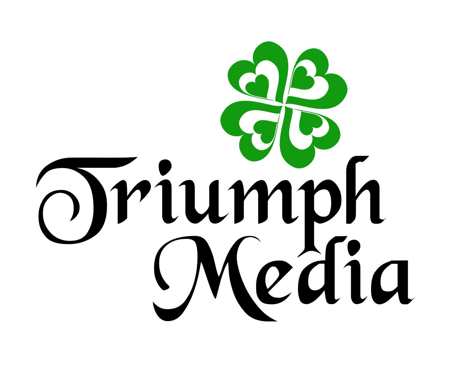 Разработка логотипа  TRIUMPH MEDIA с изображением клевера фото f_5074754ceebf8.jpg