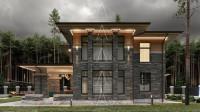 Bridge House 2. Дом в стиле Райта. Полный цикл проектных работ. Ракурс 4