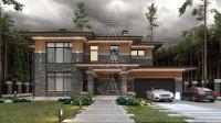 Bridge House 2. Дом в стиле Райта. Полный цикл проектных работ. Ракурс 1