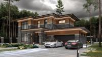Bridge House 2. Дом в стиле Райта. Полный цикл проектных работ. Ракурс 2