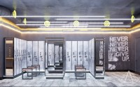 Тренажерный зал HAMMER Legend. 1500 м2. Казахстан, Астана. Блок для посетителей. Раздевалки. Ракурс 1