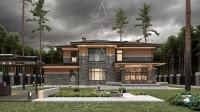 Bridge House 2. Дом в стиле Райта. Полный цикл проектных работ. Ракурс 5