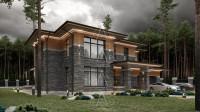 Bridge House 2. Дом в стиле Райта. Полный цикл проектных работ. Ракурс 3