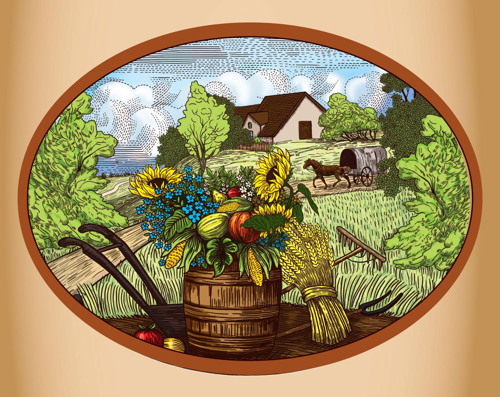 Гравюра для упаковки - сельский пейзаж, урожай