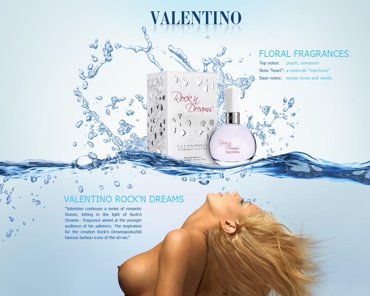 Valentino. Промо страница духов Рокен Дримс
