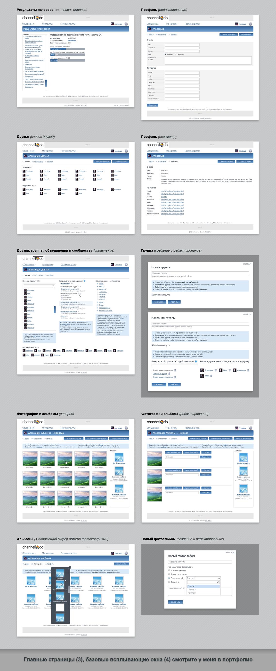 channelTodo: Интерактивная сеть. Внутренние страницы (11) и всплывающие окна (3)