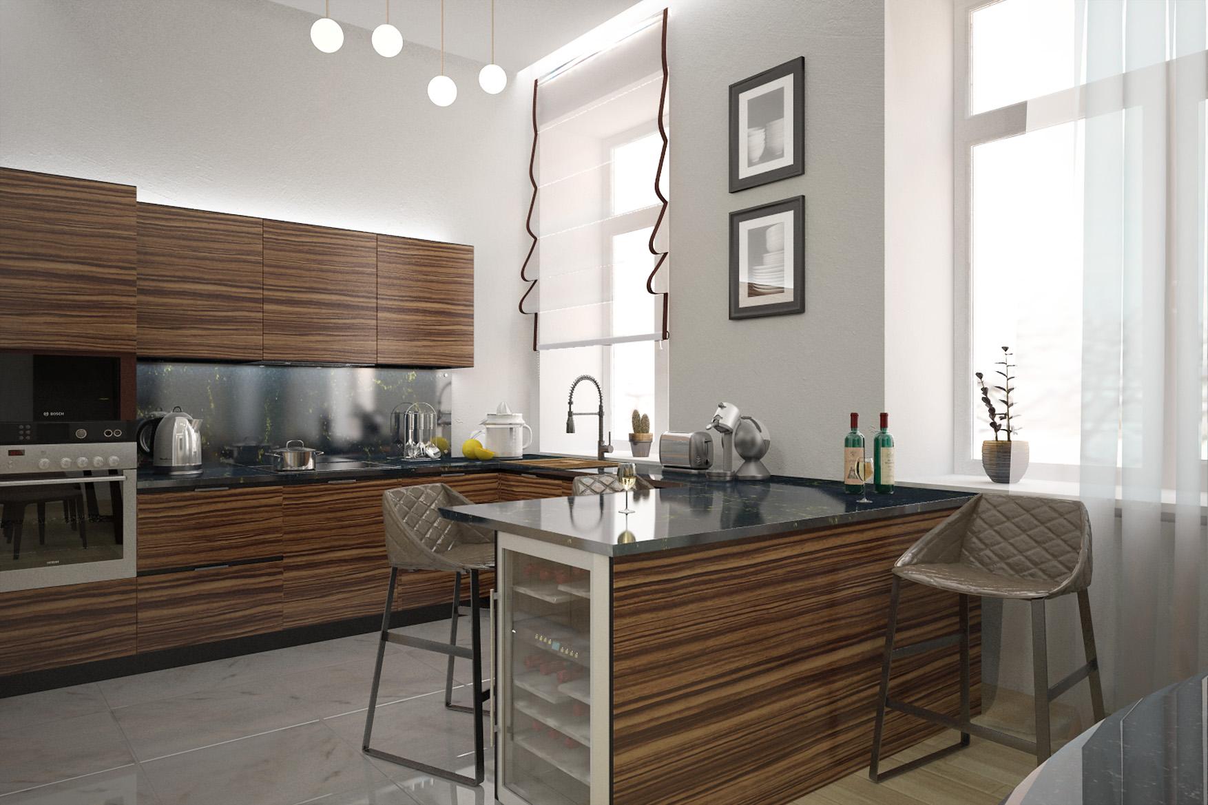 Дизайн интерьера квартиры, ул. Сретенка, Москва, кухня