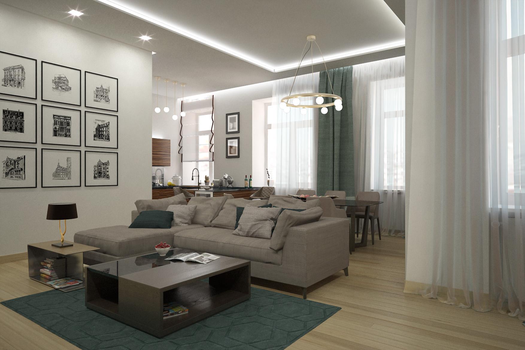 Дизайн интерьера квартиры, ул. Сретенка, Москва, гостиная