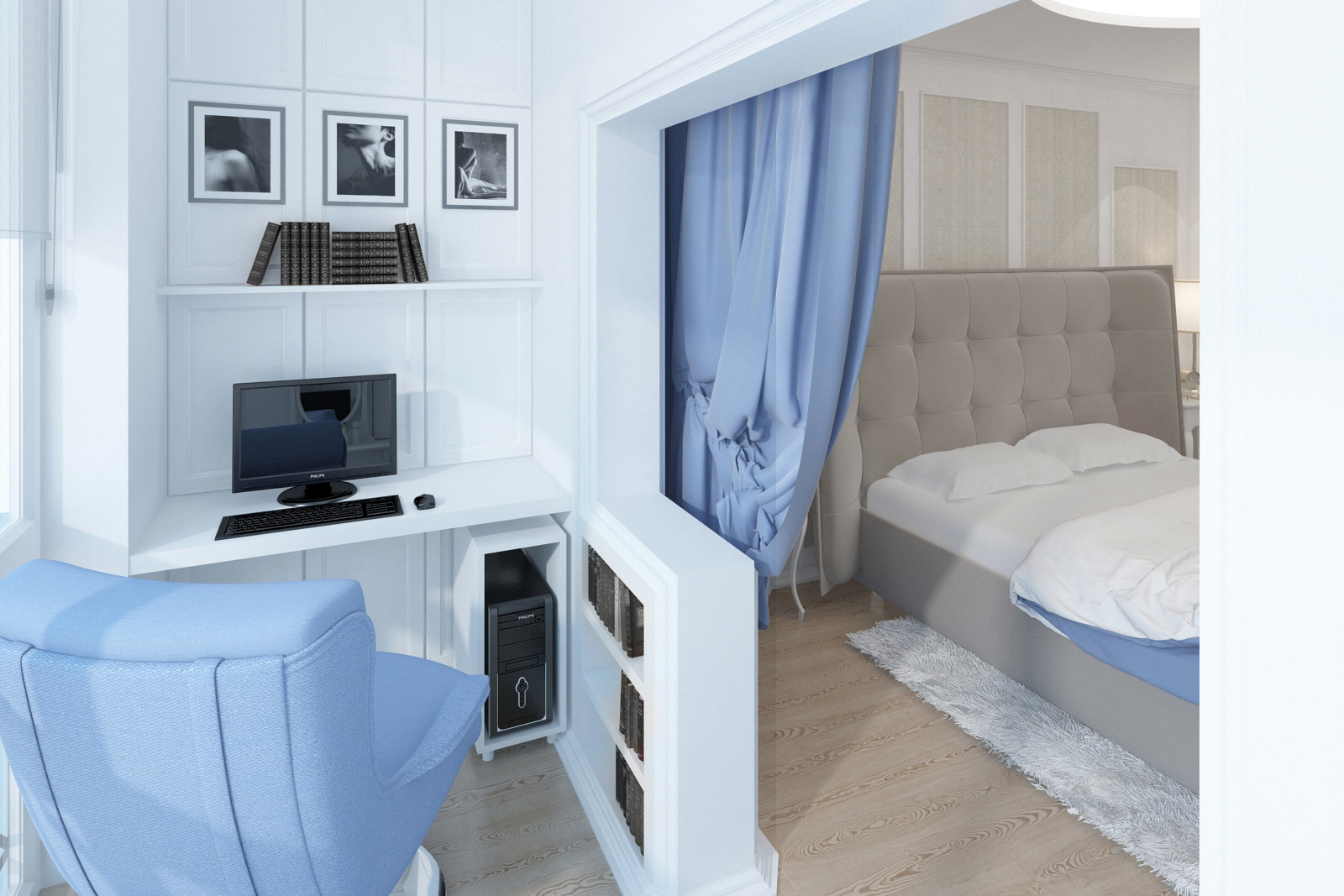 Дизайн интерьера квартиры, усадьба Салтыковка, спальня