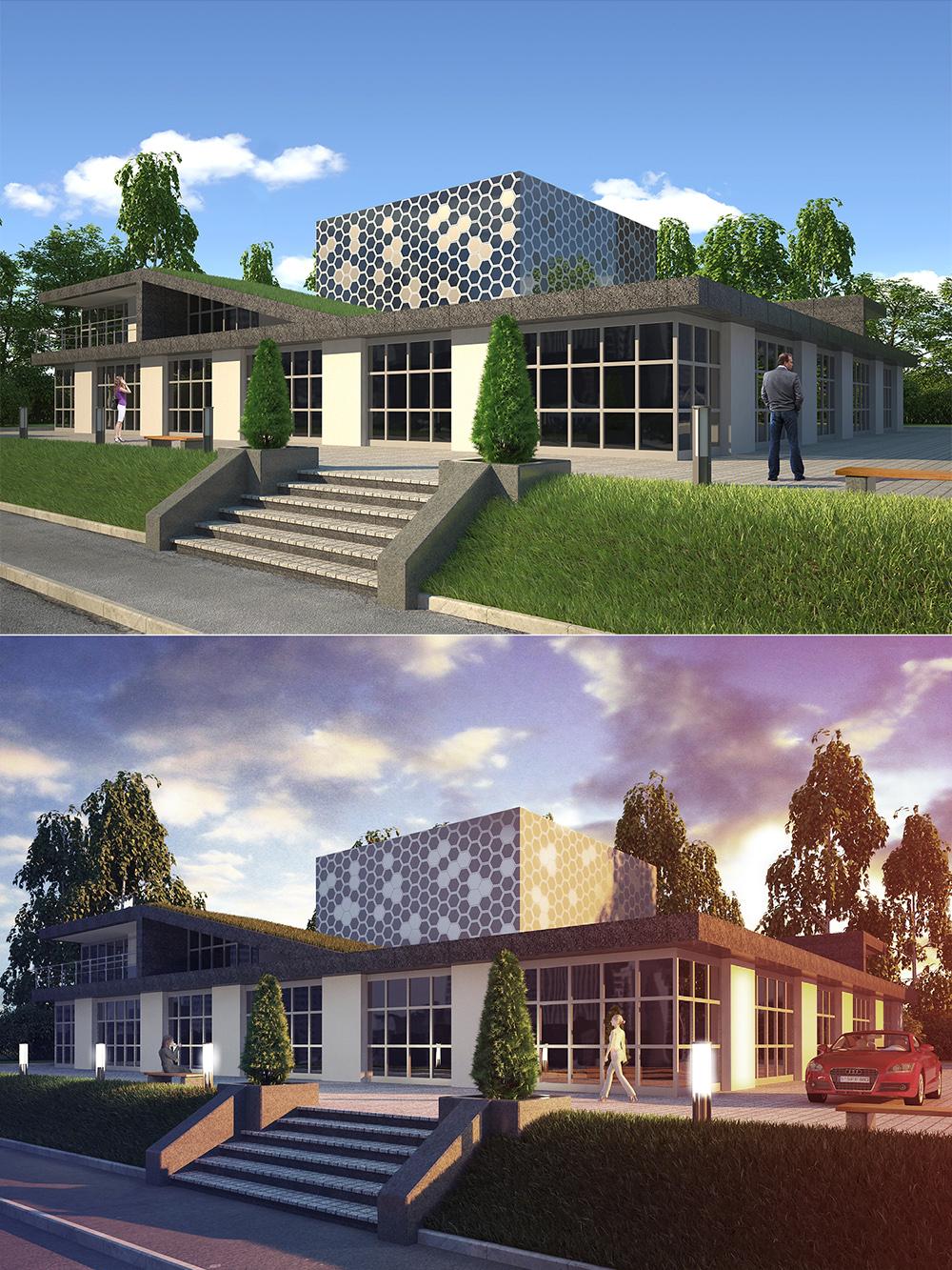 Визуализация офисного здания (день-ночь)