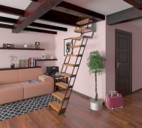 3D интерьер с чердачной лестницей