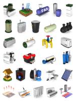 Иконки септики, водоснабжение, газоснабжение, отопление.