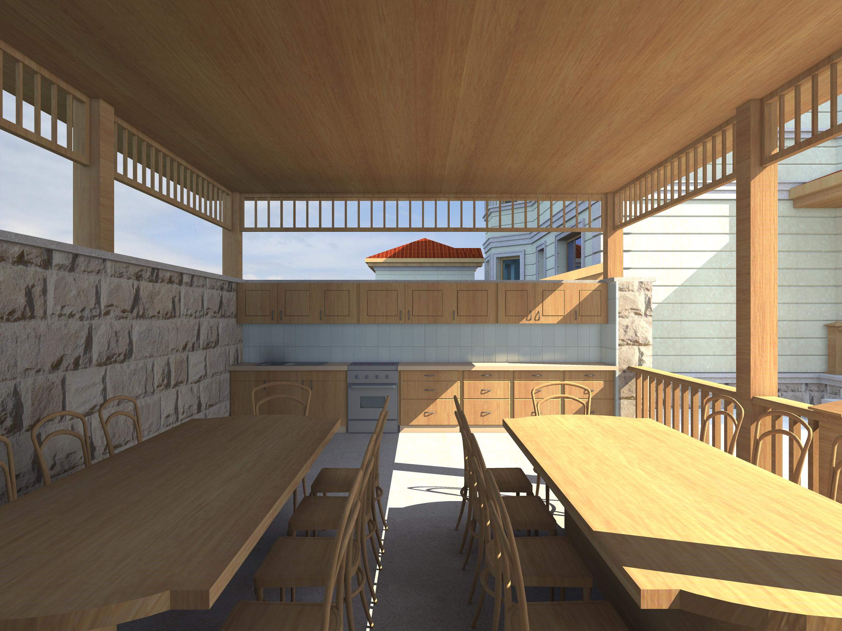 Проект двухэтажного дома с сауной, беседкой, зона барбекю и бассейном - 4
