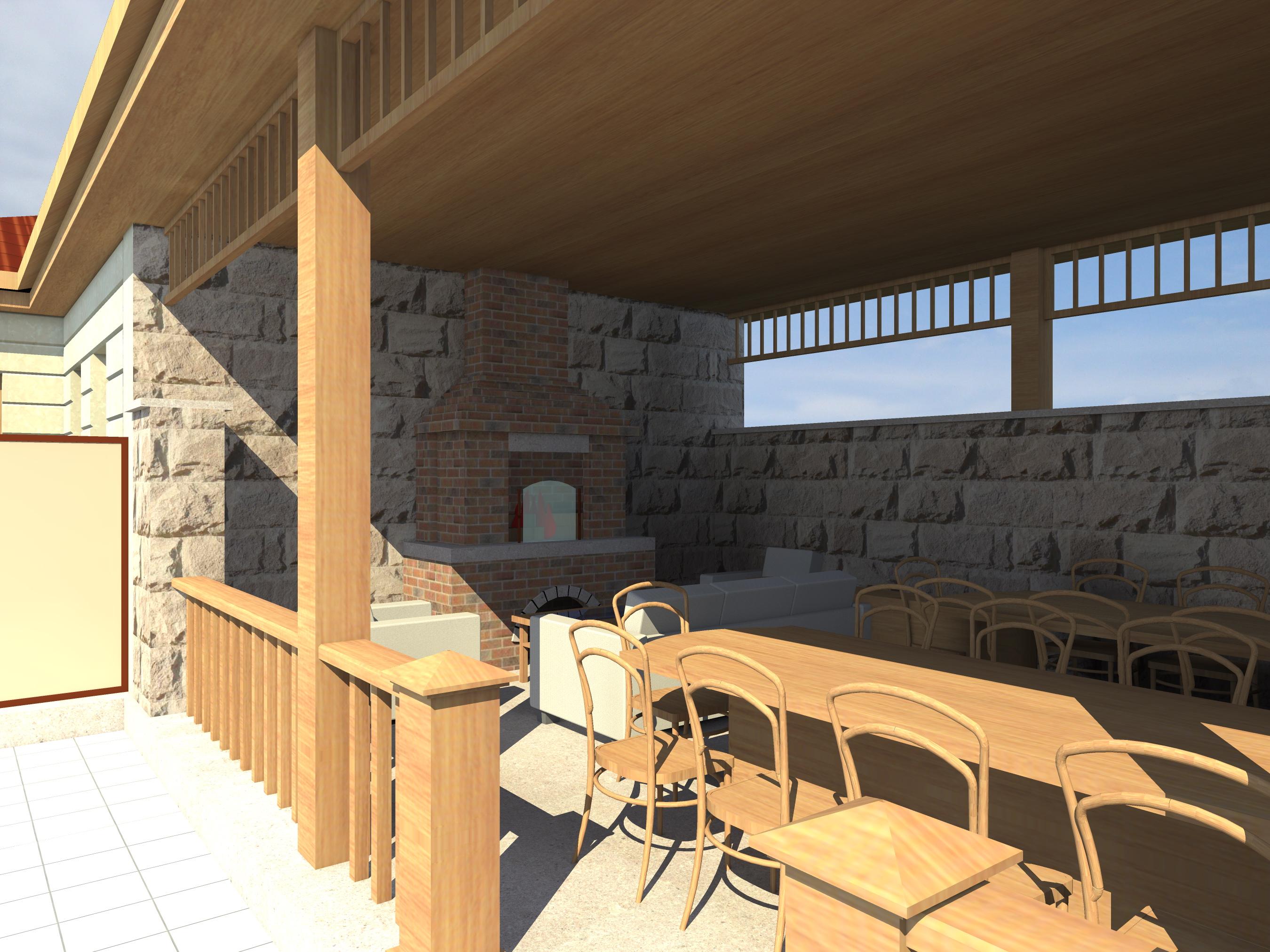 Проект двухэтажного дома с сауной, беседкой, зона барбекю и бассейном - 3