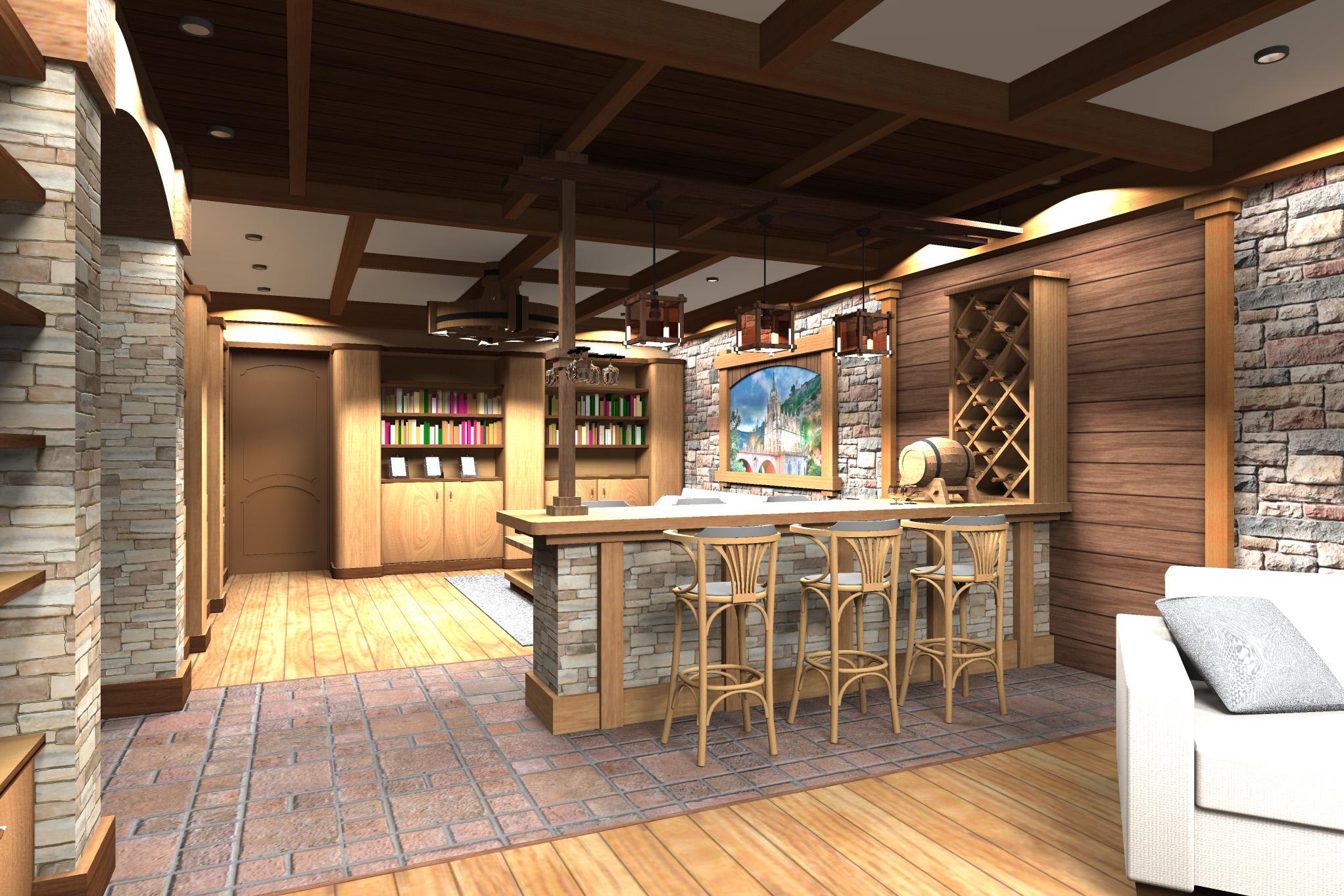 Дизайн комнаты отдыха в цокольном этаже - 1
