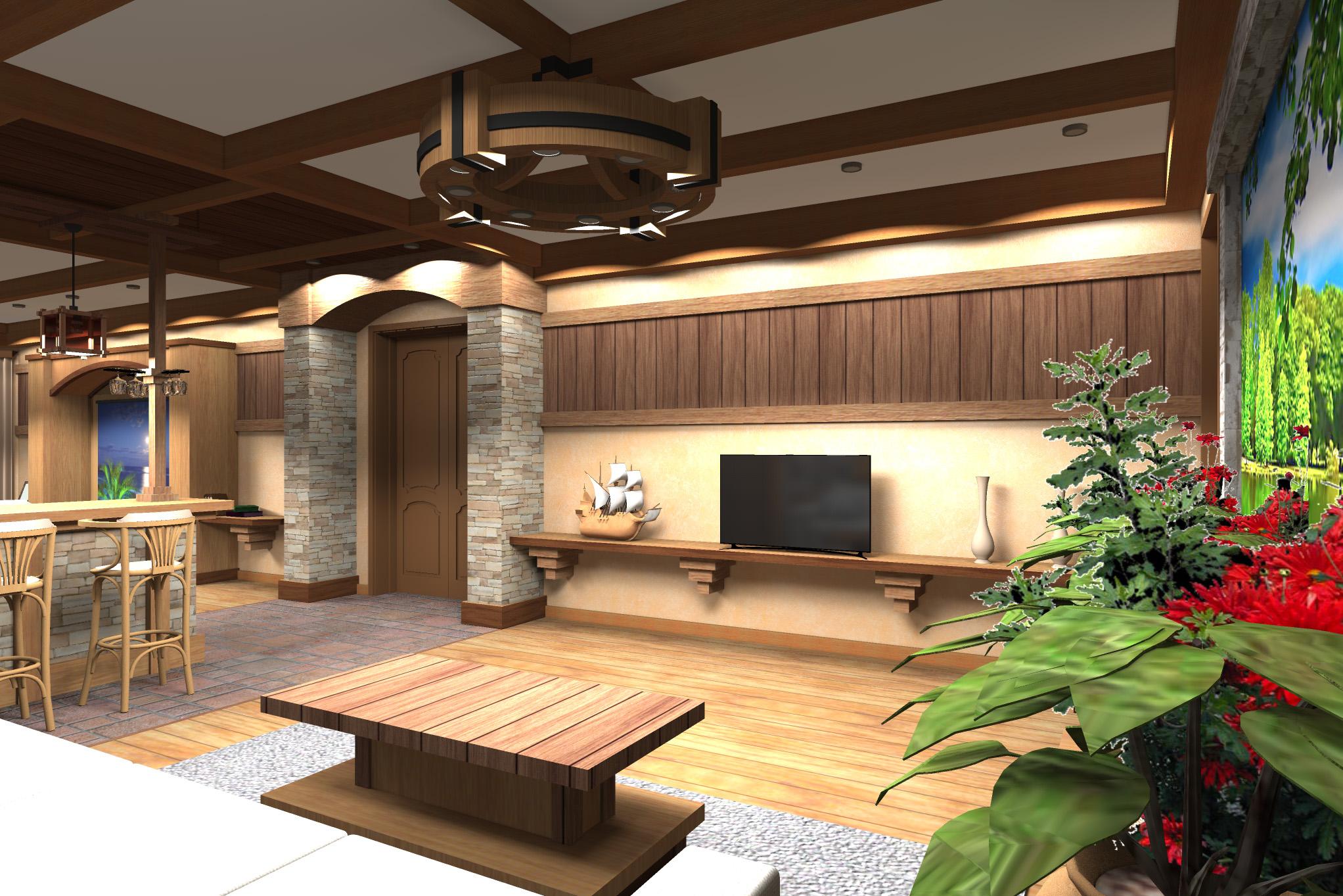 Дизайн комнаты отдыха в цокольном этаже (вариант-2)  - 3