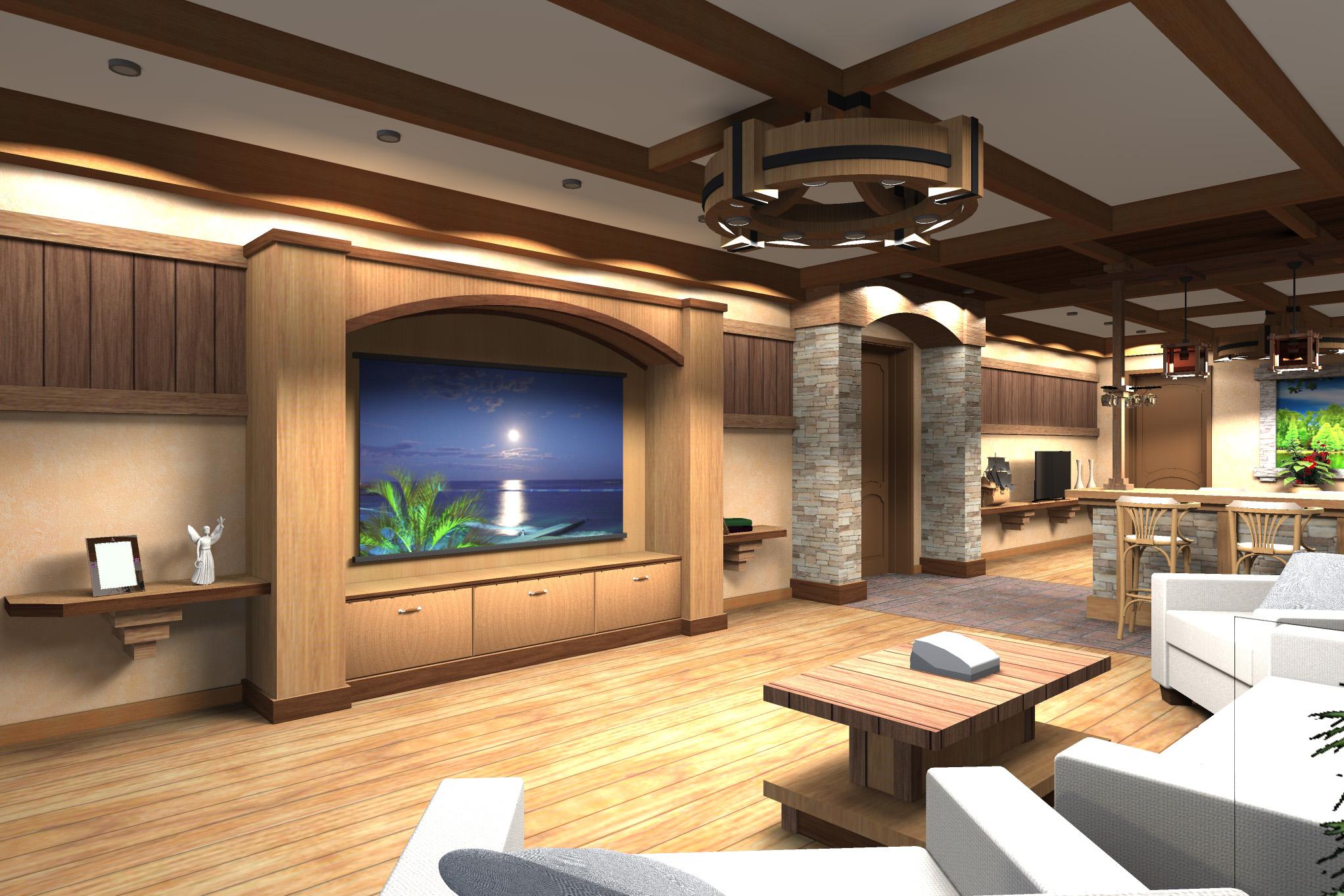 Дизайн комнаты отдыха в цокольном этаже (вариант-2)  - 6