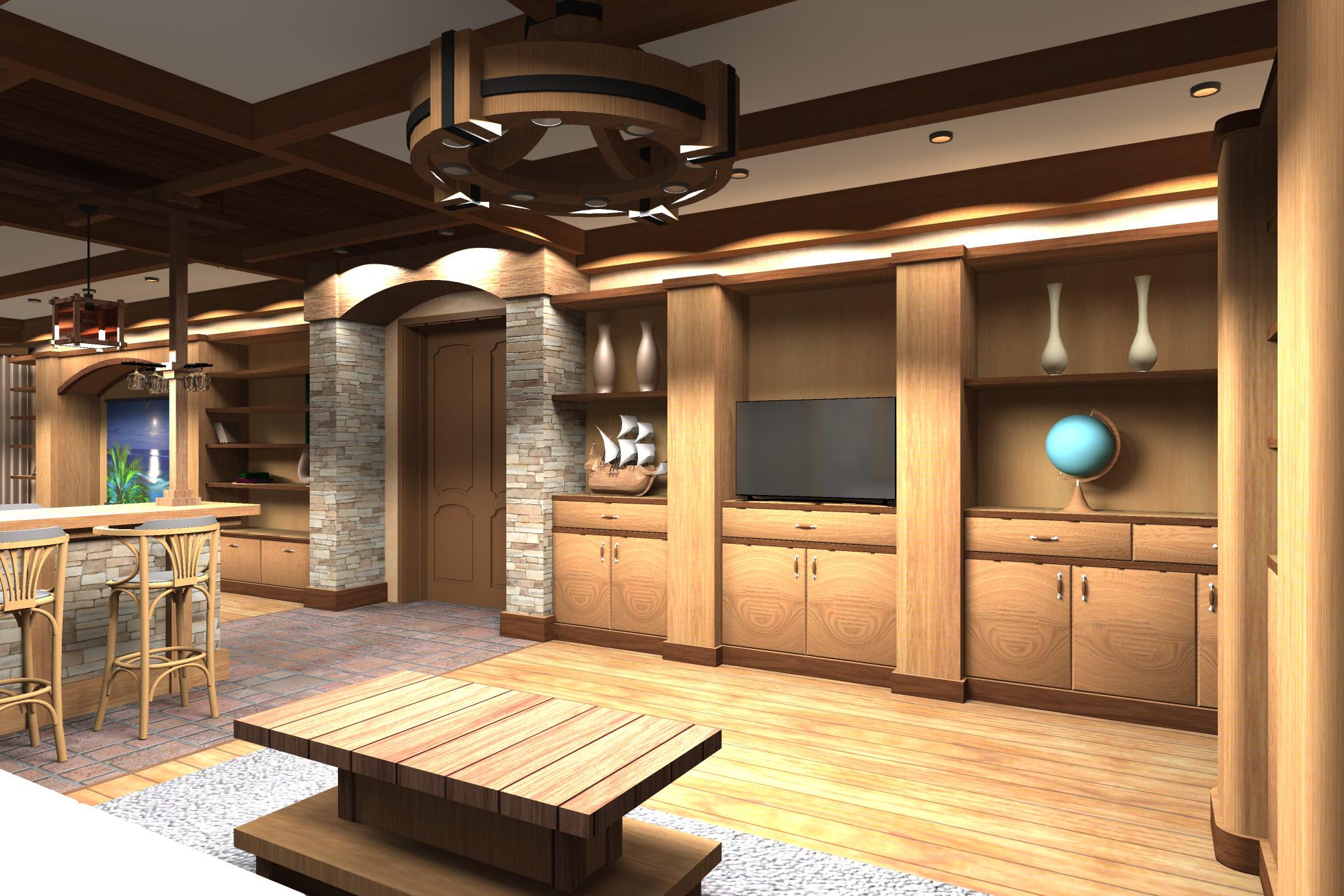 Дизайн комнаты отдыха в цокольном этаже - 3
