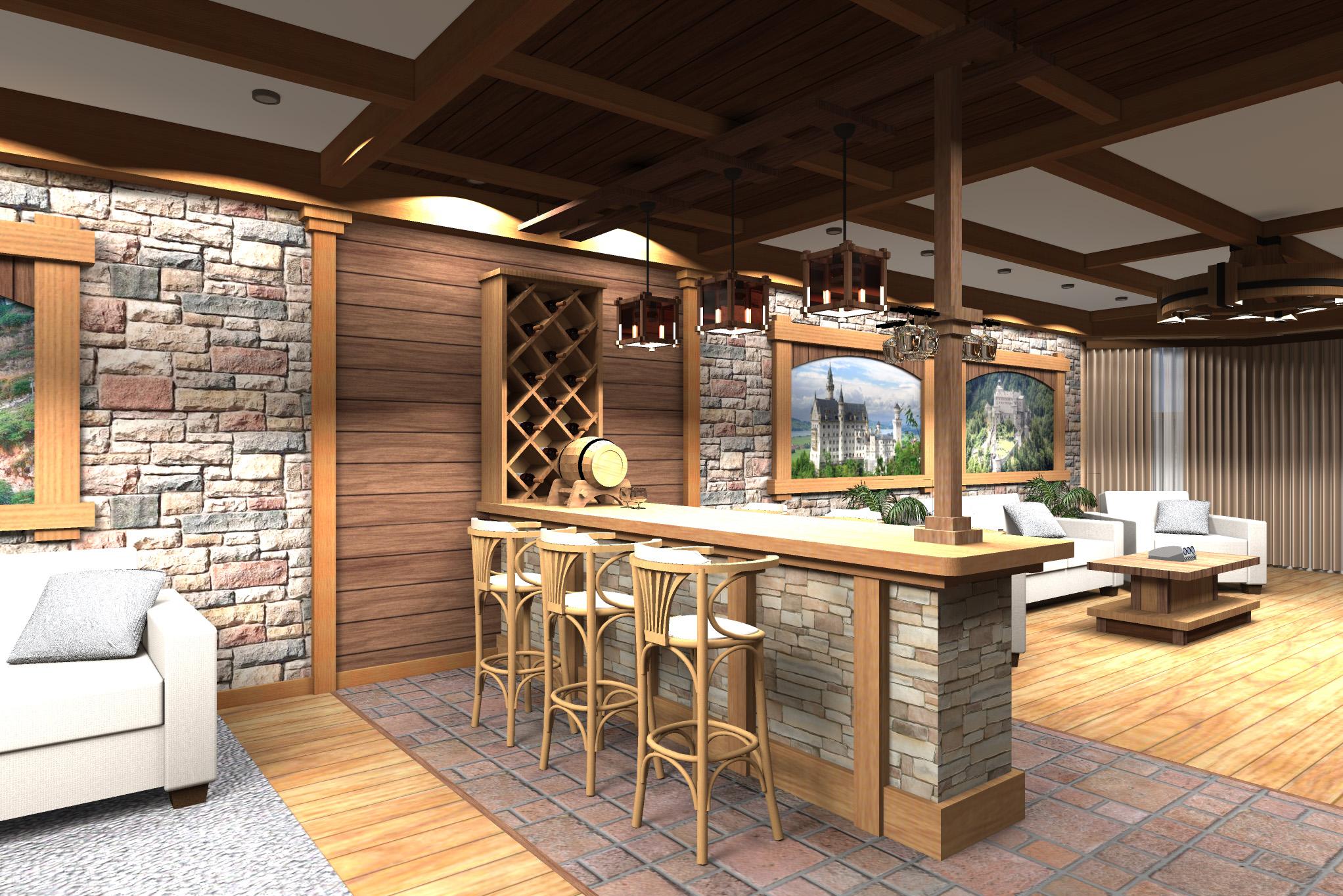 Дизайн комнаты отдыха в цокольном этаже (вариант-2)  - 7