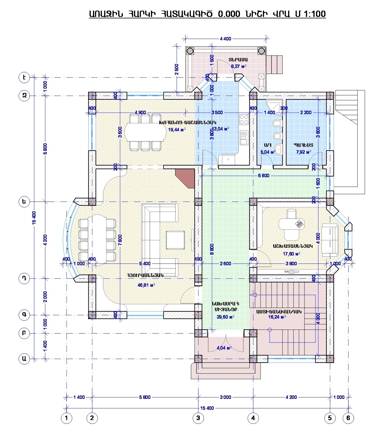Проект двухэтажного дома с сауной, беседкой, зона барбекю и бассейном - план 1го этажа