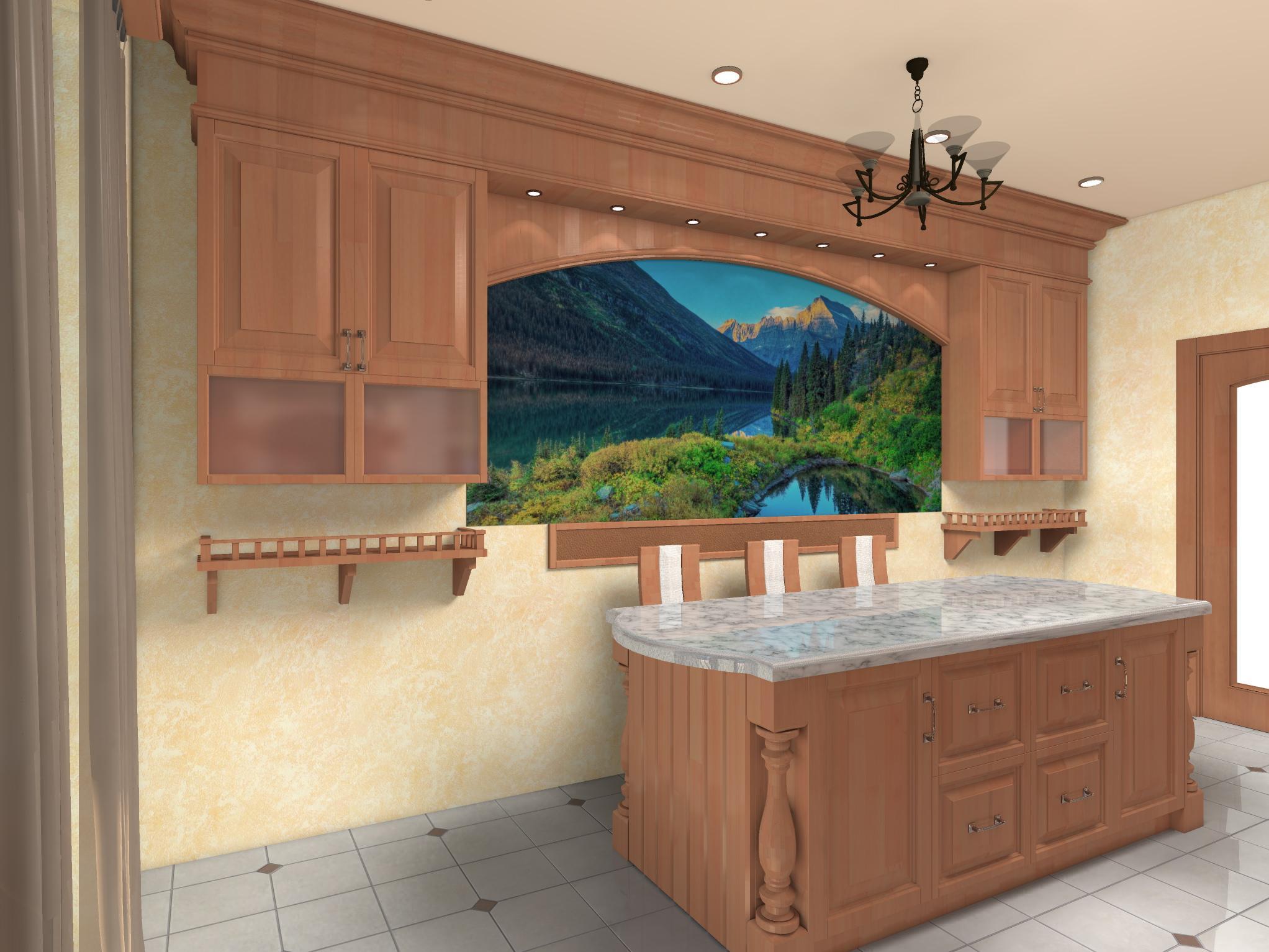 Кухня в частном доме, вариант 2-3