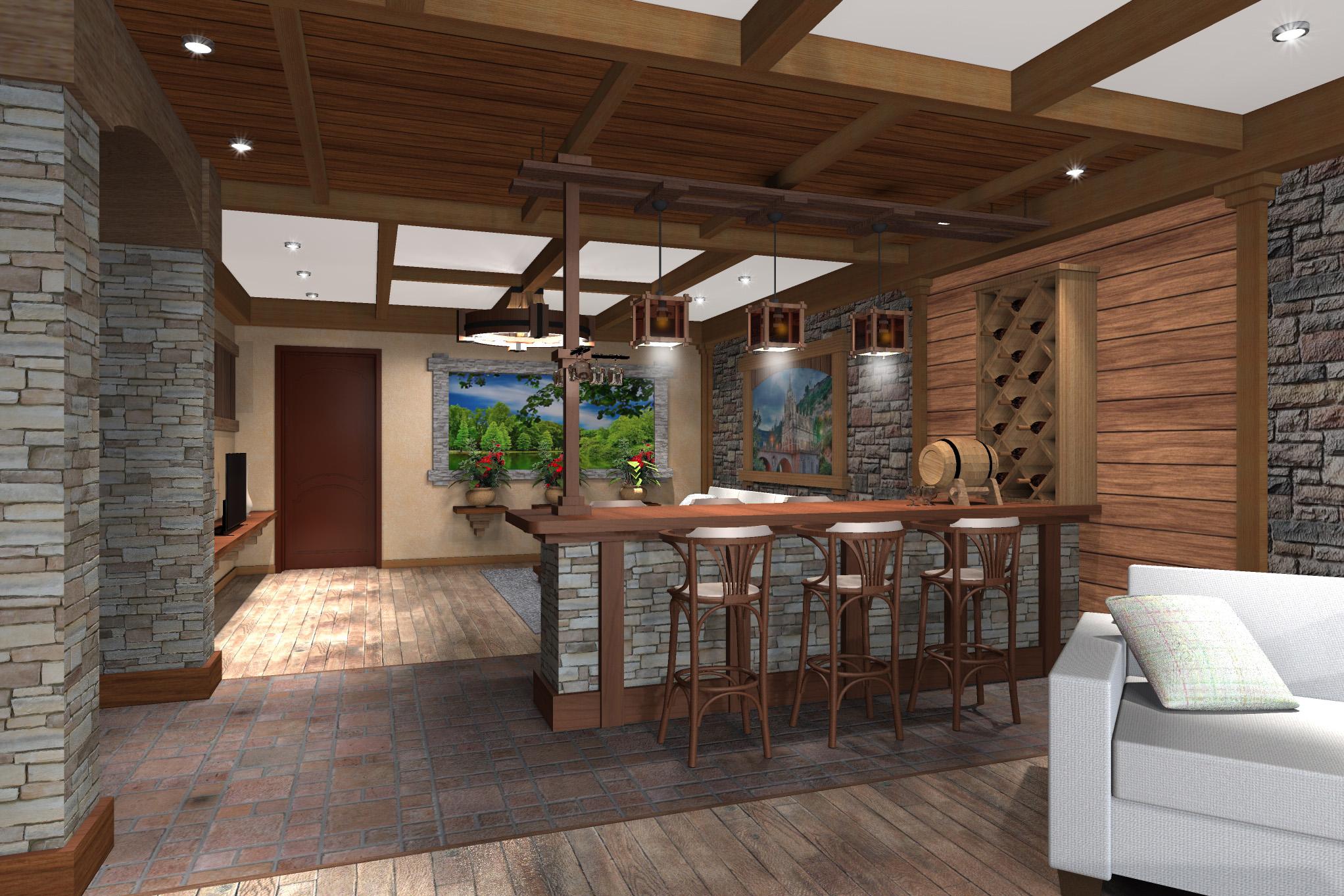 Дизайн комнаты отдыха в цокольном этаже (вариант-2)  - 0